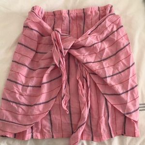Pink striped wrap skirt